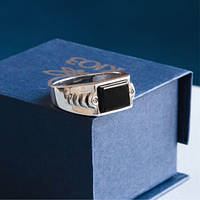 Серебряное кольцо GS  мужское с ониксом