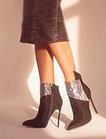 Нарядные женские замшевые ботинки, 35,36,37,38,39,40,41