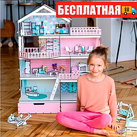 """Большой игровой набор NestWood """"Дом приключений"""" венге для кукол ЛОЛ с мебелью и аксессуарами"""