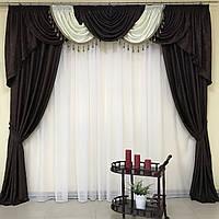 Комплект штор из жаккарда 2 шт с ламбрекеном на карниз 3 м в коричневом цвете (для спальни, гостиной, зала)