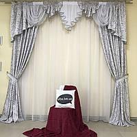 Комплект штор из жаккарда 2 шт с ламбрекеном на карниз 3м в сером цвете с узором (для спальни, гостиной, зала)