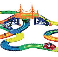 Светящаяся дорога Magic Tracks 360 деталей 2 машинки мост дорожные знаки детский гибкий трек Мэджик Трек