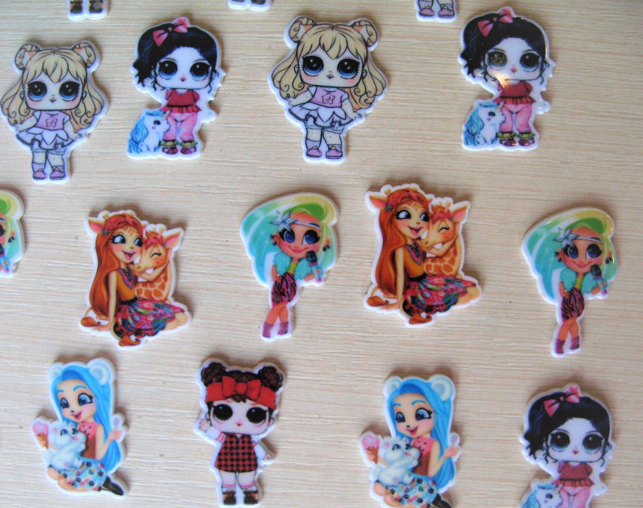 Набор серединок для бантиков (кабошоны) Куклы Lol, Hairdorables, Encantimals - 12 шт