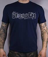 Размеры: 48/50/52. Мужская спортивная футболка Reebok Crossfit, 100% хлопок - темно-синяя