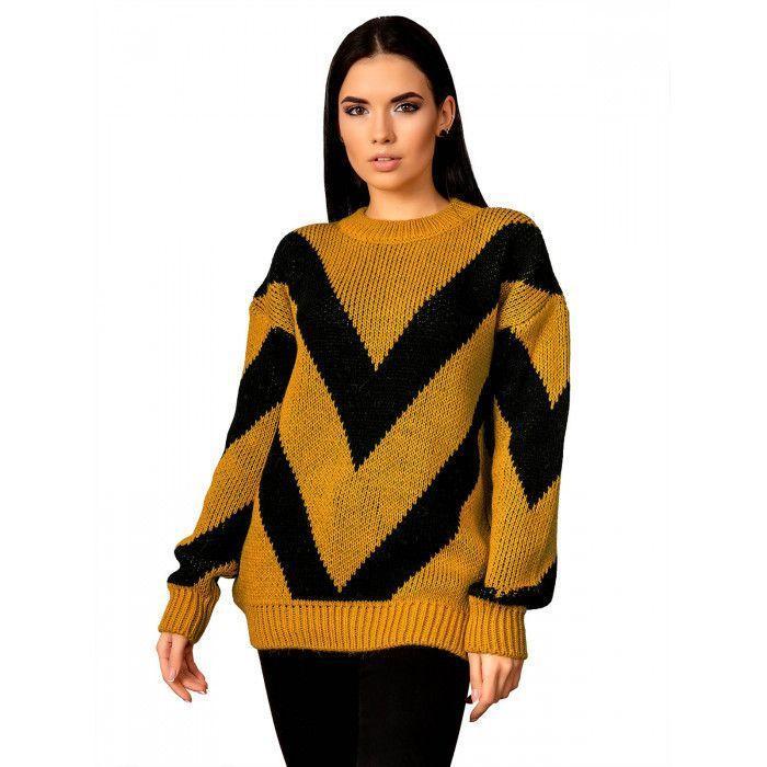 Теплый свитер горчица 44-48 размер