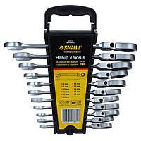 Ключи рожково - накидные трещоточные с шарниром Sigma 6010631 8, 9, 10, 11, 12, 13, 14, 15, 16, 17, 19мм 11шт