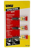 Суперклей UHU SUPER POWER minis, 3 шт х 1 г, клей прозорий