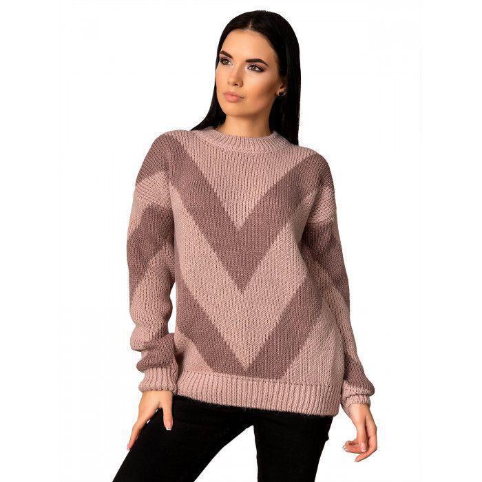 Теплый свитер пудра 44-48 размер