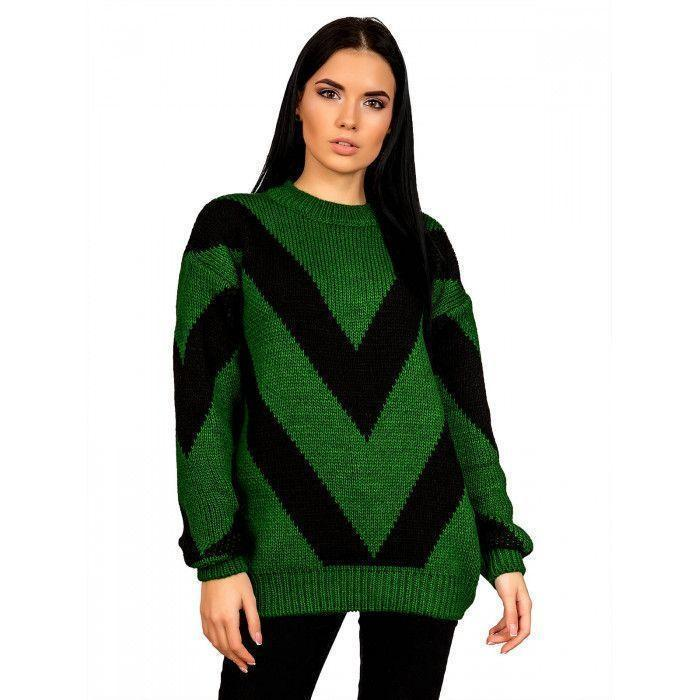 Теплый свитер зеленый 44-48 размер
