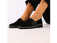 Женские туфли из черной замши 36