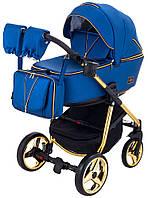 Детская коляска 2 в 1 Adamex Sierra Polar (Gold) кожа 100% Y220 темно-синий перламутр, фото 1