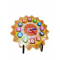 """388 Деревянная игра """"Часы-вкладыши"""" на подставке в коробке сортер (kj2236)"""
