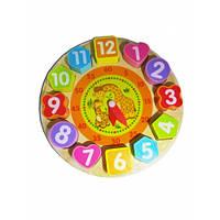 """389 Деревянная игра """"Часы-вкладыши"""" на подставке в коробке сортер (kj2235)"""