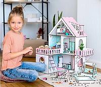 """Кукольный домик NestWood """"МИНИ КОТТЕДЖ"""" для кукол LOL (ЛОЛ) , 5 комнат (этаж 20см) + Мебель 9 ед"""
