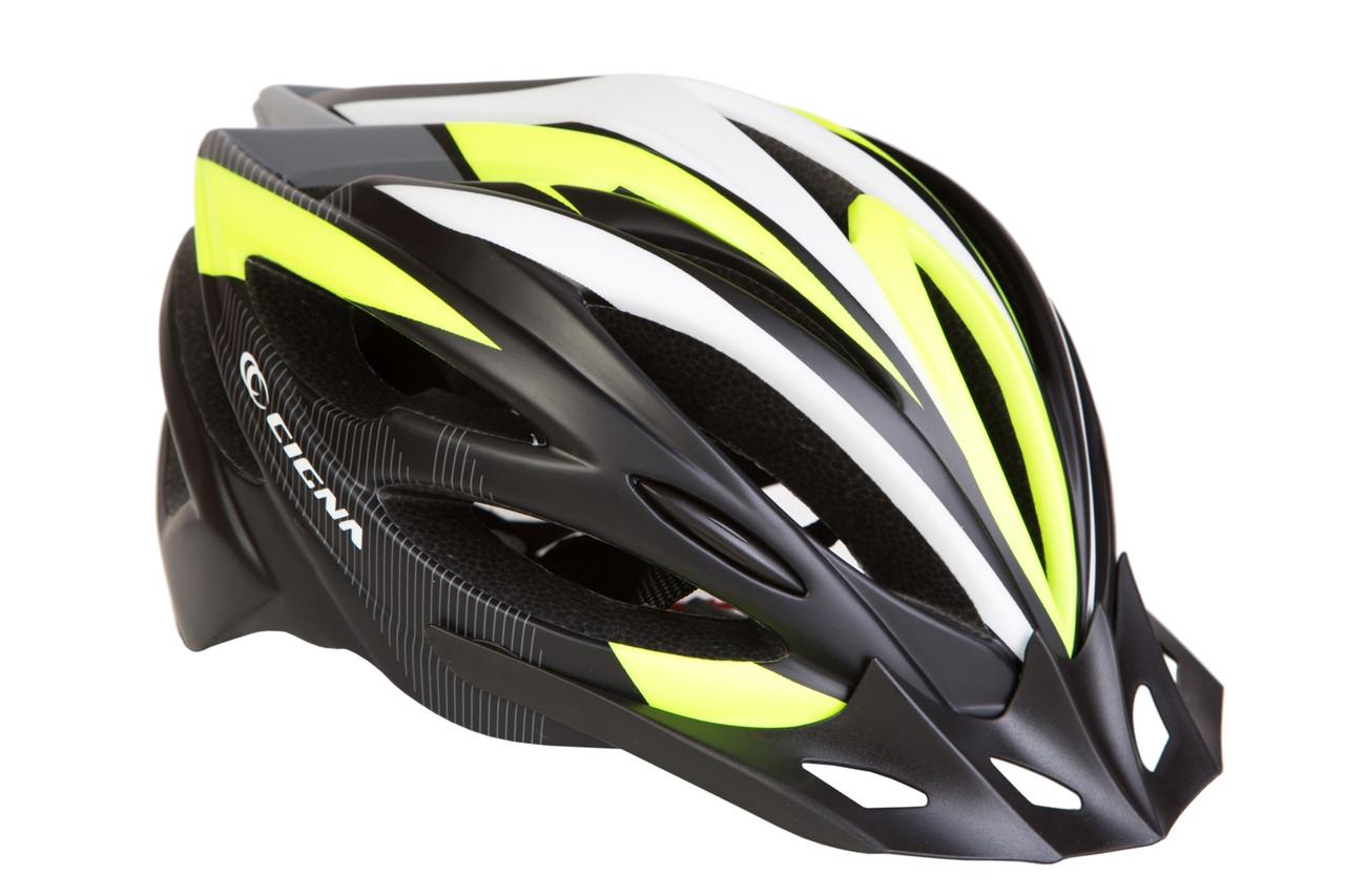 Шлем велосипедный с козырьком СIGNA WT-068 черно-красный (черно-бело-салатный)