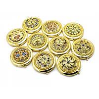 Зеркальце косметическое с каменьями золото (d-7 см)(в коробке + чехольчик) ( 23677)