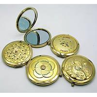 Зеркальце косметическое с камнями золотое напыление (в коробке + чехольчик) ( 19373)