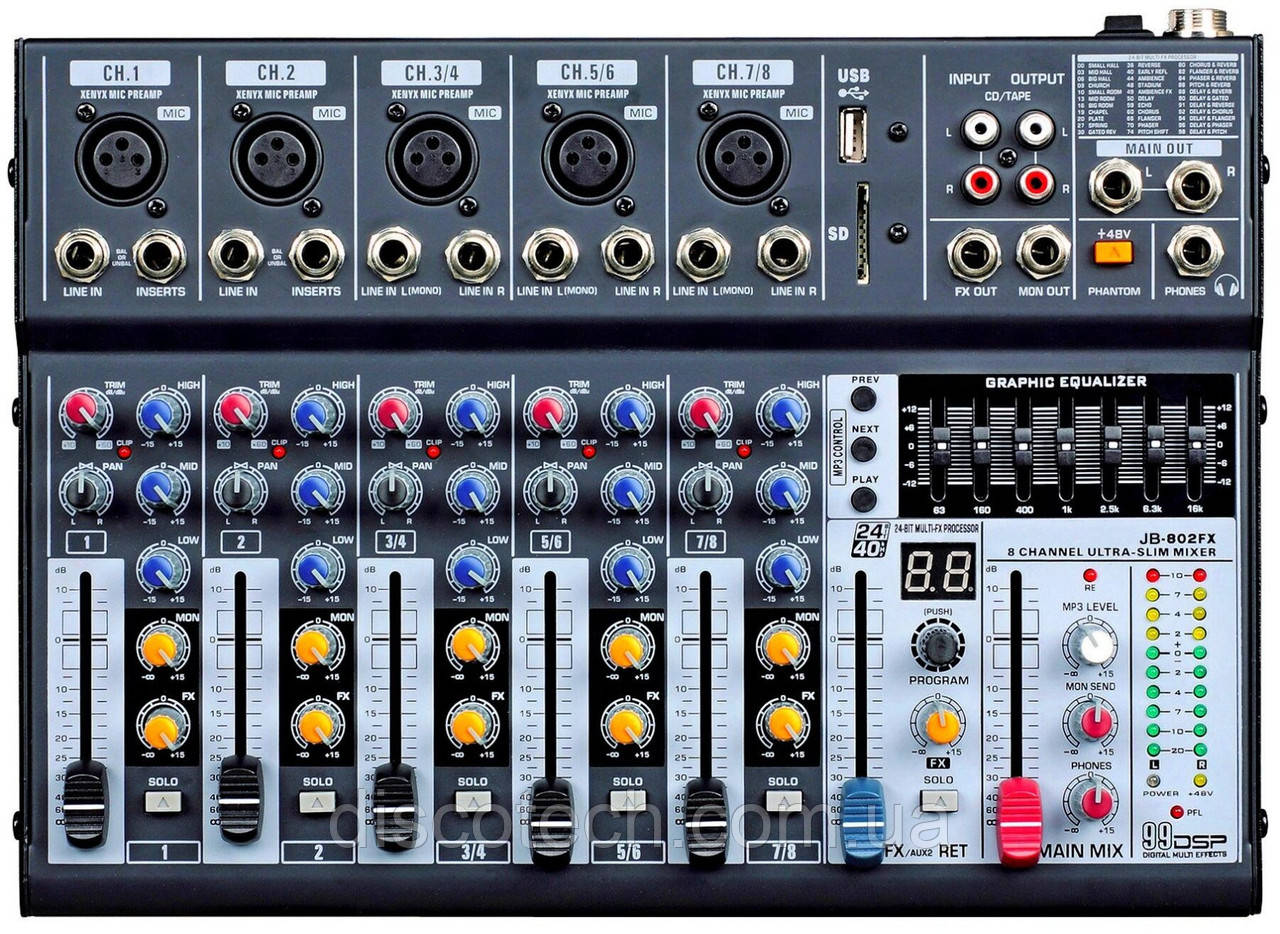 JB-802FX  Микшерный пульт 2 моно+3 стерео канала