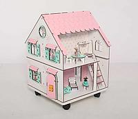 """Кукольный домик NestWood """"Сказочный"""" на подставке 2х-сторонний для кукол ЛОЛ, 4 комнаты, без мебели"""