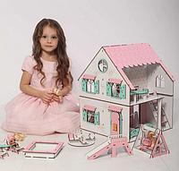 """Кукольный домик NestWood """"Сказочный"""" 2х-сторонний для кукол ЛОЛ, 4 комнаты (этаж 20см)"""