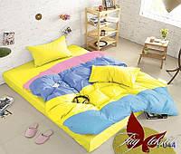 Комплект постельного белья Евро Color mix APT044 ТМ TAG Evro, постельное белье евро