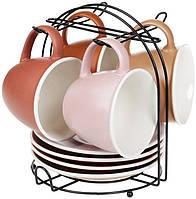 """Кофейный сервиз """"Терракота"""" 4 чашки 170мл с блюдцами на подставке"""