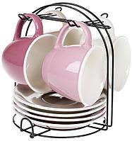 """Кофейный сервиз """"Лавандовое поле"""" 4 чашки 170мл с блюдцами на подставке"""