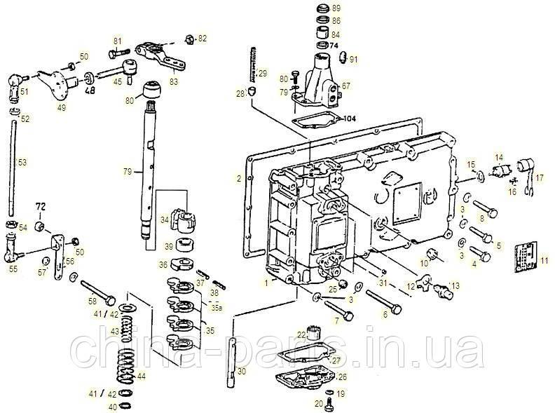 Каталог запчастей#Боковая крышка и механизм переключения передач S6-120