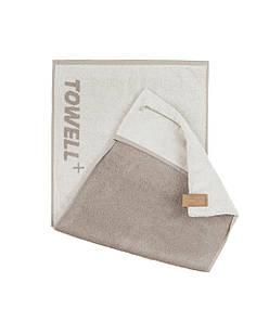 Многофункциональное спортивное полотенце TOWELL+ Белое-коричневое