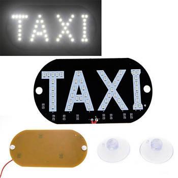 Автомобильное LED табло табличка Такси TAXI 12В, белое