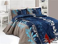 Комплект постельного белья полуторный R7085 blue ТМ TAG 1,5-спальный, постельное белье полуторка