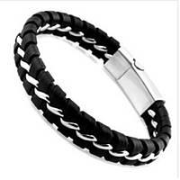 Плетеный кожаный браслет (черно-белый)