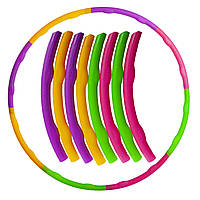 Обруч складной Хула Хуп Hula Hoop в цветной картонной коробке (пластик, 8 секций, d-89см)