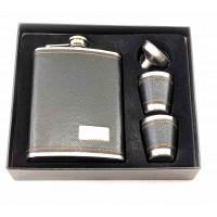 Фляга с рюмками и лейкой в подарочной упаковке черная (19х17х4 см) B ( 32851B)