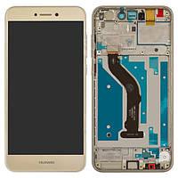 Дисплейный модуль (дисплей и сенсор) для Huawei P8 Lite (2017), P9 Lite (2017), золотистый, с рамкой, оригинал, PRA-LA1, PRA-LX2, PRA-LX1, PRA-LX3