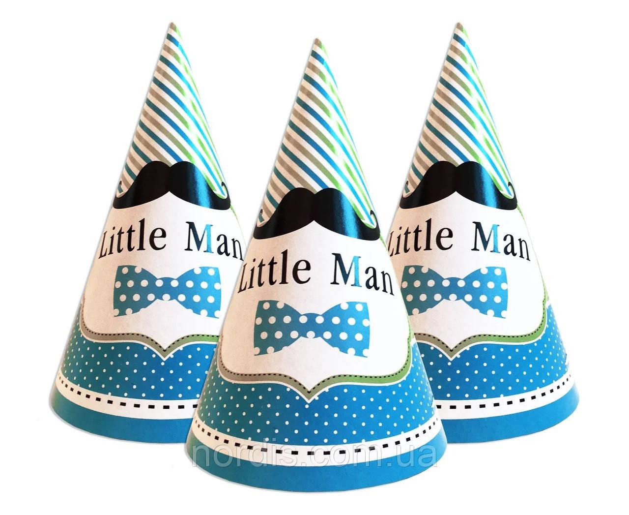 """Колпаки праздничные, маленькие """" Little Man """",10 шт/уп."""