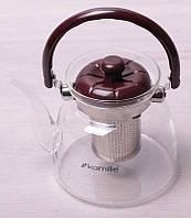 Чайник заварочный Kamille Orlate 1400мл стеклянный со стальным ситечком, фото 1