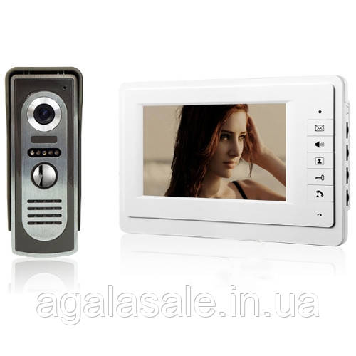"""Видео домофон с 7"""" цветным LCD, камерой, интерком"""