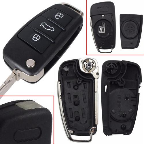 Выкидной ключ зажигания, заготовка корпус под чип, 3 кнопки, Audi