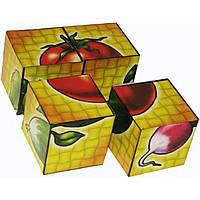 "Кубики картонные  ""Овощи"", 4 кубика, ""Технокомп"" 1349"