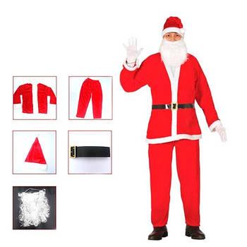 Костюм Санта Клауса Санти Діда Мороза карнавальний + борода + шапка