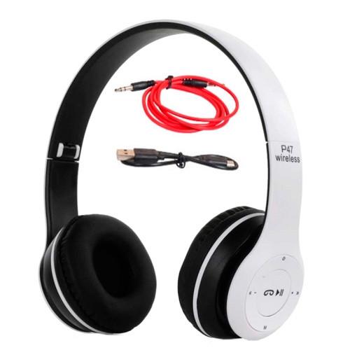 Навушники безпровідні Bluetooth гарнітура P47 MicroSD, білі