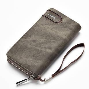 Мужской клатч-портмоне BAELLERRY Jeans Young Style на молнии Серо-Зеленый (SUN0251)