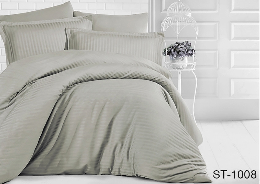Евро комплект постельного белья Maxiстрайп сатин ST-1008