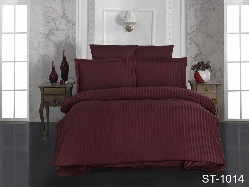 Евро комплект постельного белья Maxiстрайп сатин ST-1014
