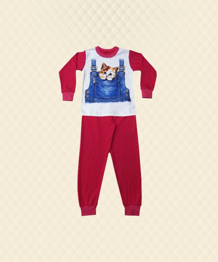 Пижама подростковая Котёнок в кармашке накат интерлок