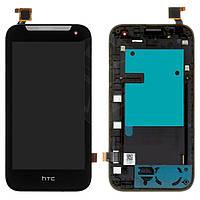Дисплейный модуль (дисплей и сенсор) для HTC Desire 310 Dual Sim, черный, с рамкой, (127*63)