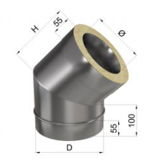 Колено дымохода 45° нерж/нерж 0,8 мм 140/200