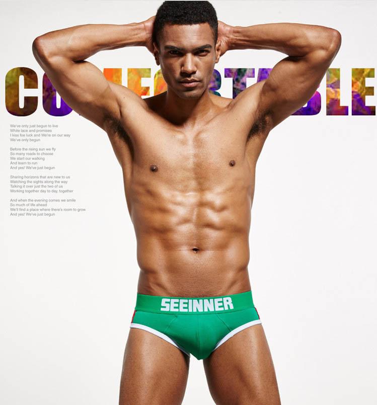 Мужское белье push up  Seeinner хлопок, M, зеленый, маломерный, Китай, M: 78-84 см, L: 85-90 см, XL: 91-95 см, предусмотрен карман (пуш-ап приобретается отдельно), да
