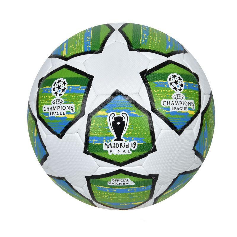 Мяч футбольный №5 PU HYDRO TECHNOLOGY SHINE CHAMPIONS LEAGUE FINAL MADRID 2019 (№5, 5сл,сшит вруч., белый-салатовый)